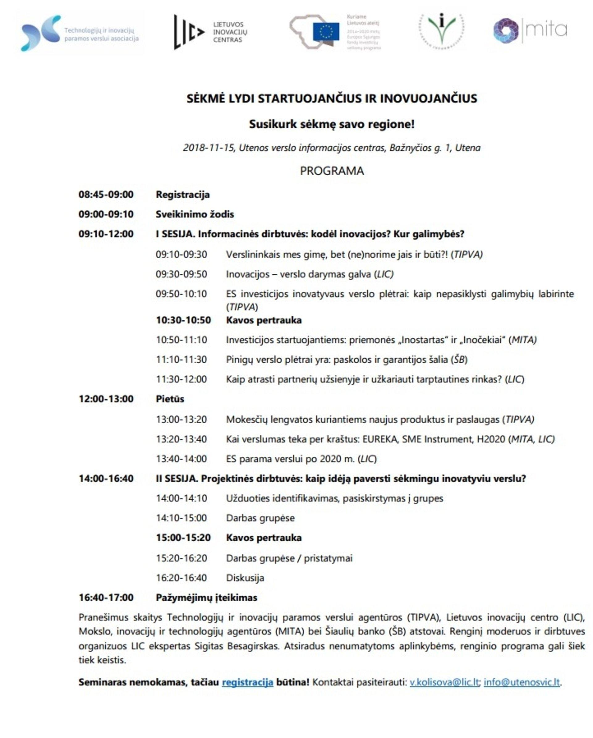 Seminaras: Sėkmė lydi startuojančius ir inovuojančius