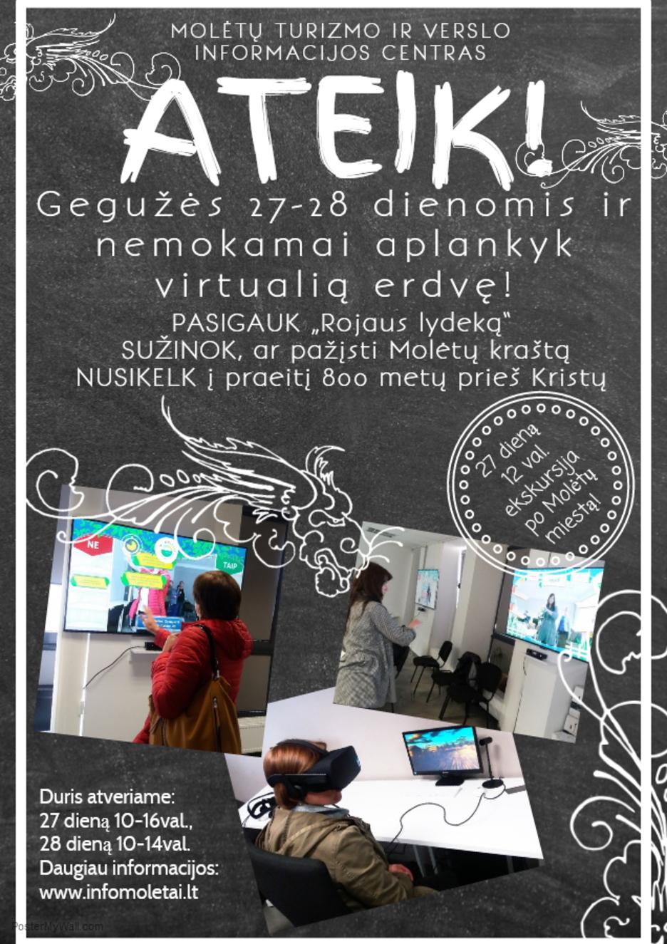 Gegužės 27-28 d. Molėtų turizmo ir verslo informacijos centre nemokamai aplankyk virtualią erdvę!