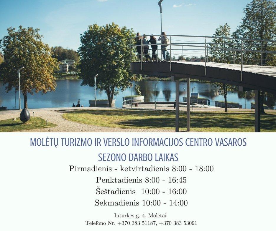 Molėtų turizmo ir verslo informacijos centro vasaros sezono darbo laikas