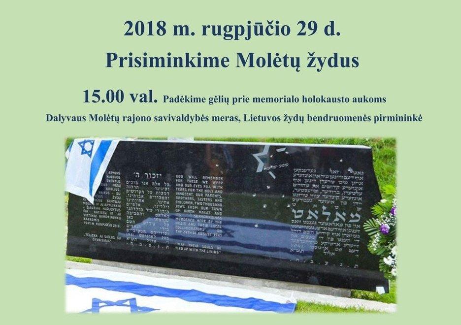 Rugpjūčio 29 pagerbkime holokausto aukų atminimą Molėtuose
