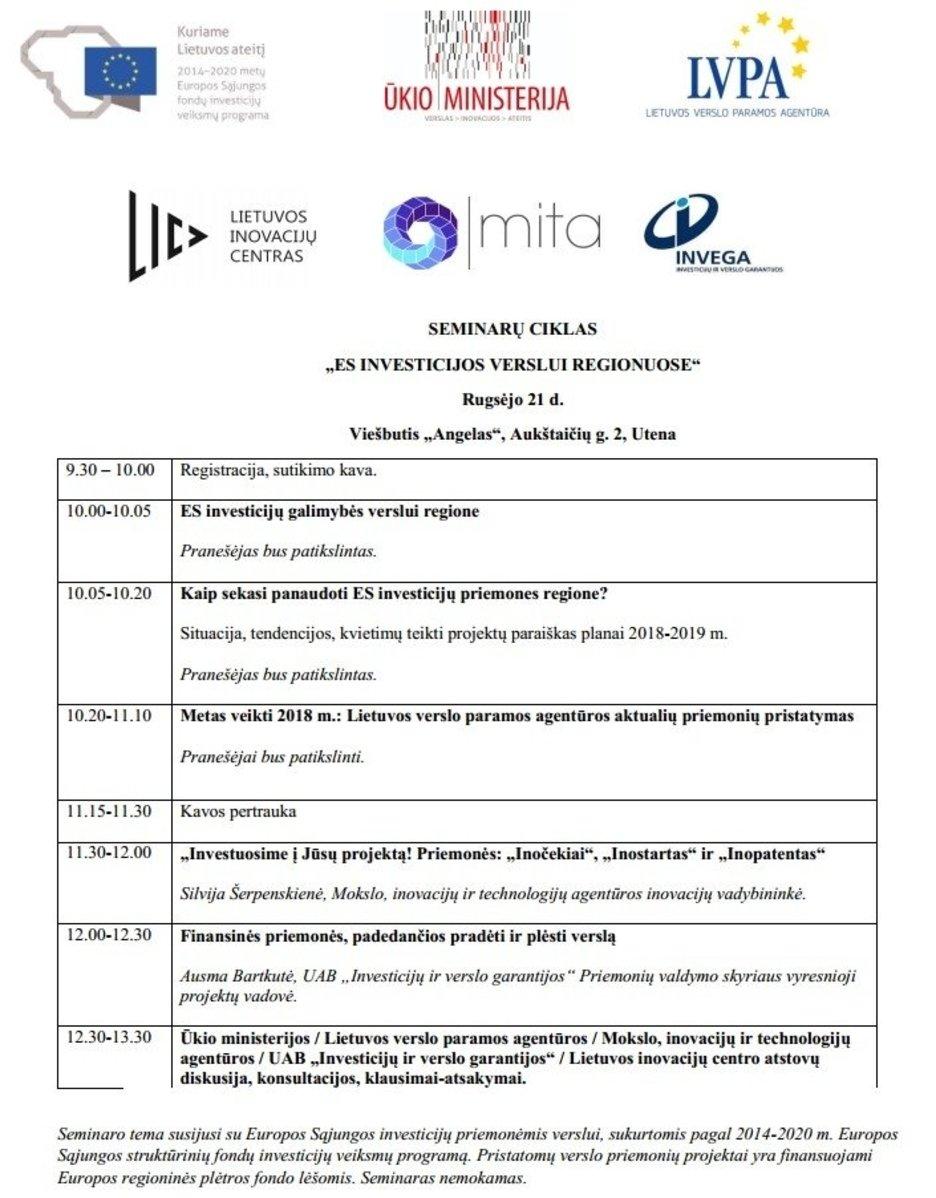 Rugsėjo 21 d. Utenoje organizuojamas nemokamas praktinis seminaras verslo atstovams