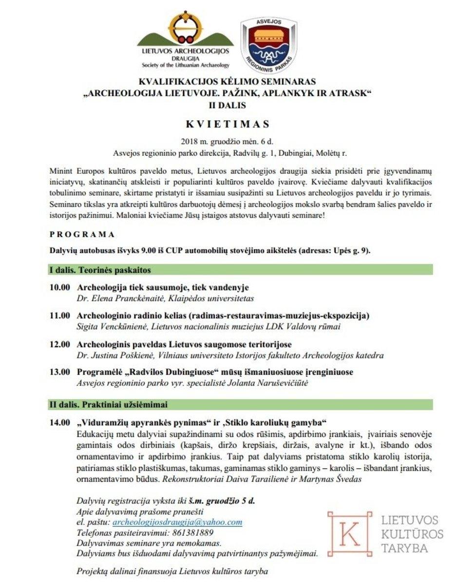 Seminaras: ARCHEOLOGIJA LIETUVOJE. PAŽINK, APLANKYK IR ATRASK