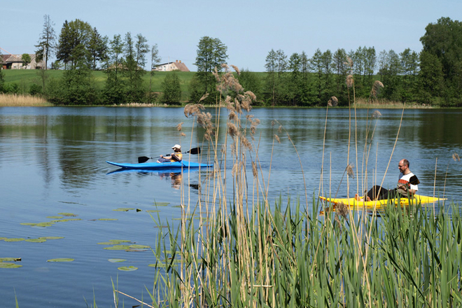 Kayak and boat rent in Molėtai camping near Galuonos Lake.